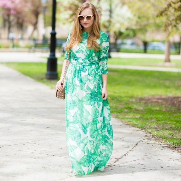 c2a0a7dc074 Shein Tropical Palm Frond Leaf Print Maxi Dress M.  M 5be387db035cf16902172180